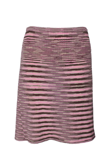 missoni pink wool skirt. features brown and tan pattern.