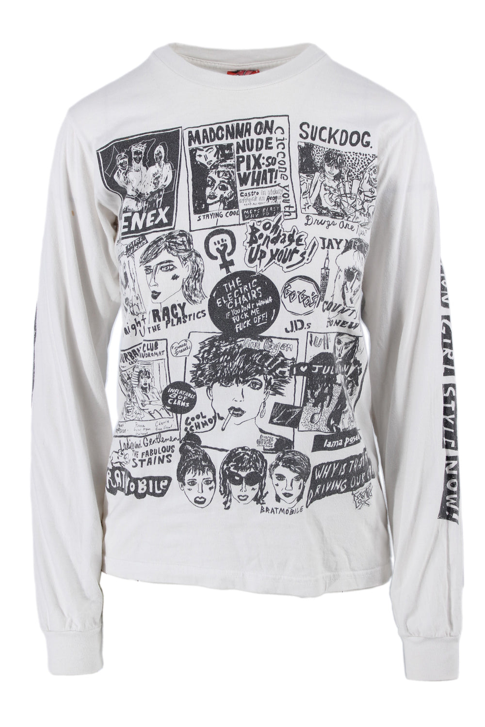 wacky wacko by seth bogart white with black graphic long sleeve tee.