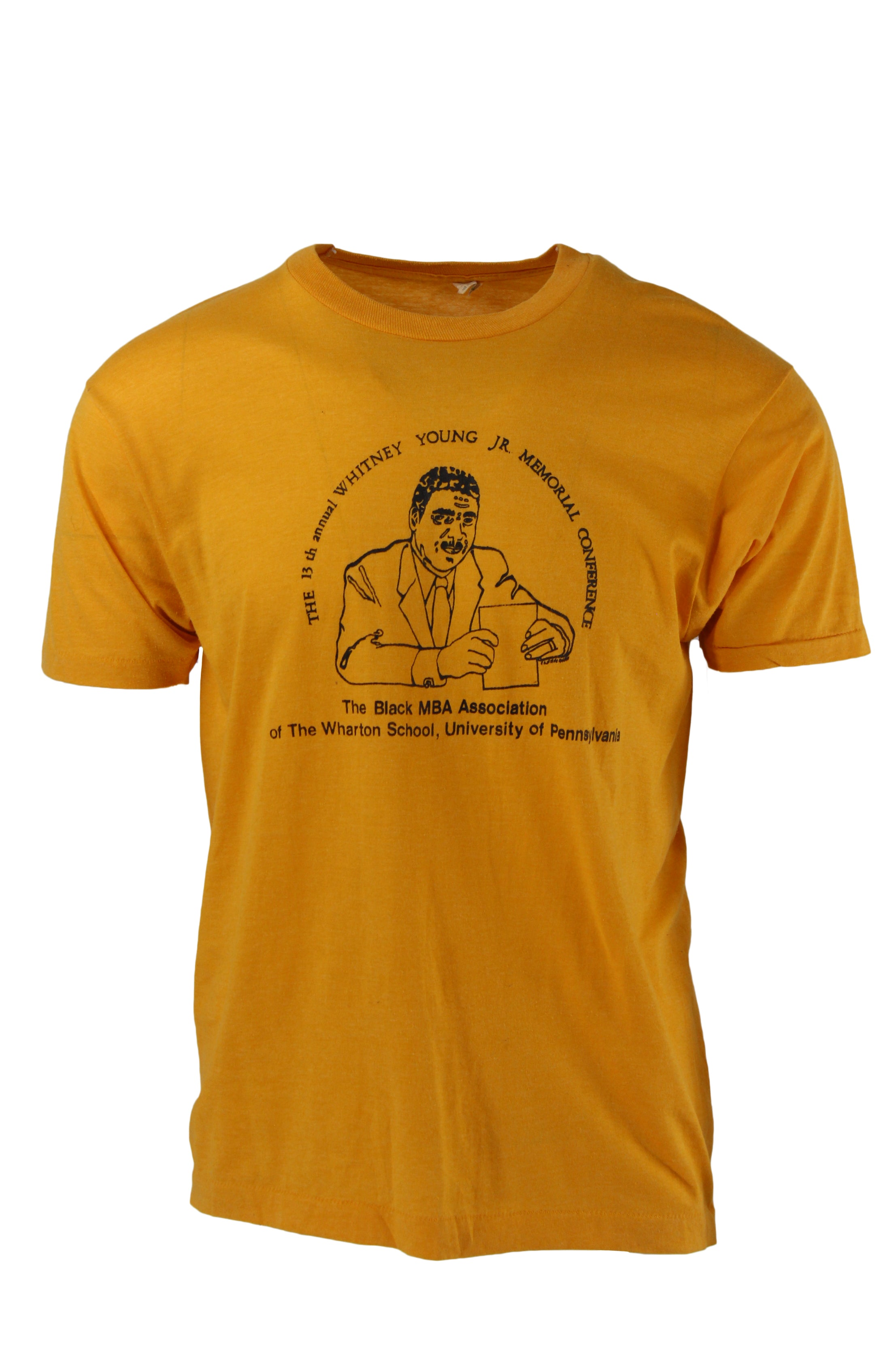 "screen stars yellow graphic short sleeve tee. features a round neckline & a picture of a man holding notes, written out ""the black mlb association of the wharton school, university of pennsylvania""."
