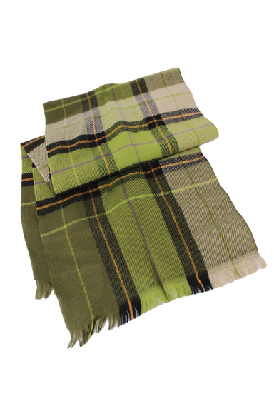 barneys new york green scarf. featuring multi colored plaid print.