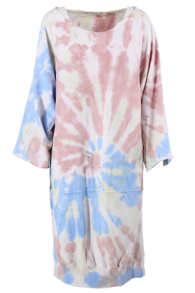 description: we the free tie-dye sweater dress. featuring raw-hemmed sleeves and pockets.
