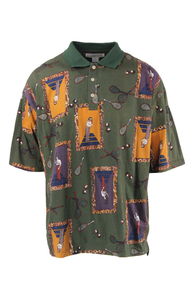 vintage green short-sleeve polo top. features button closures, and graphics of masculine figures holding tennis rackets in a frame, and tennis rackets and tennis balls throughout.