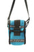 mademe x lesportsac turquoise mini cross body bag. composed of sporty rib knit material with turquoise and blue striping; adorned by mademe and lesportsac logos. featuring zip and velcro closure; and detachable strap.