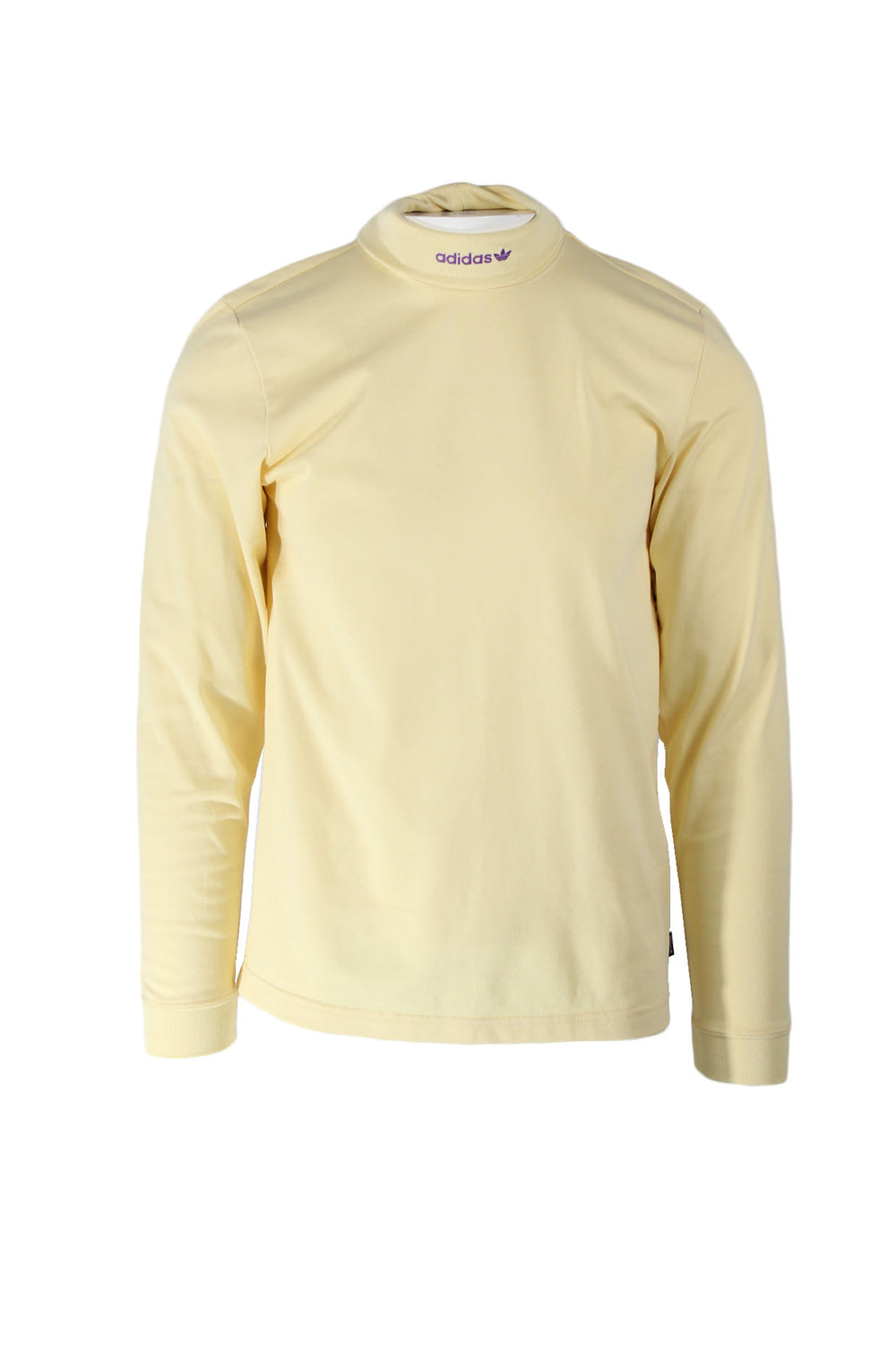 adidas skateboarding light yellow hi-collar long sleeve pullover shirt. features 'adidas' logo embroidered on front of hi-collar with logo tab at left side above hem.