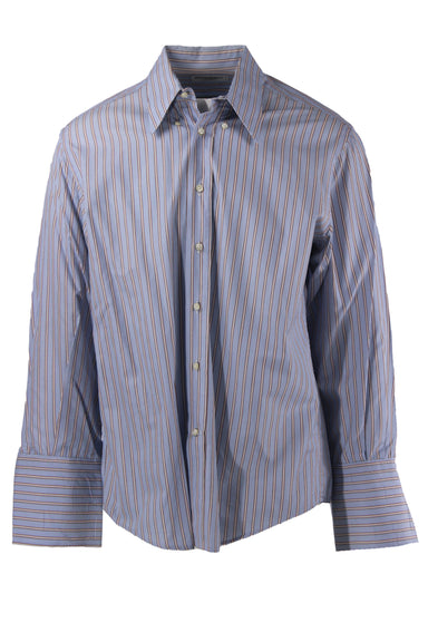 yves saint laurent pour homme light blue pinstripe collar top. features brown & white stripes, a button down closure, & long sleeves with buttoned sleeve cuffs.
