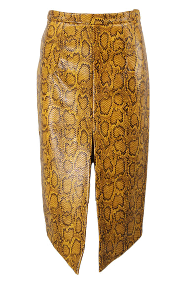 cooper yellow snake print skirt. features high-low hem with high slit at front center and concealed zipper at back.