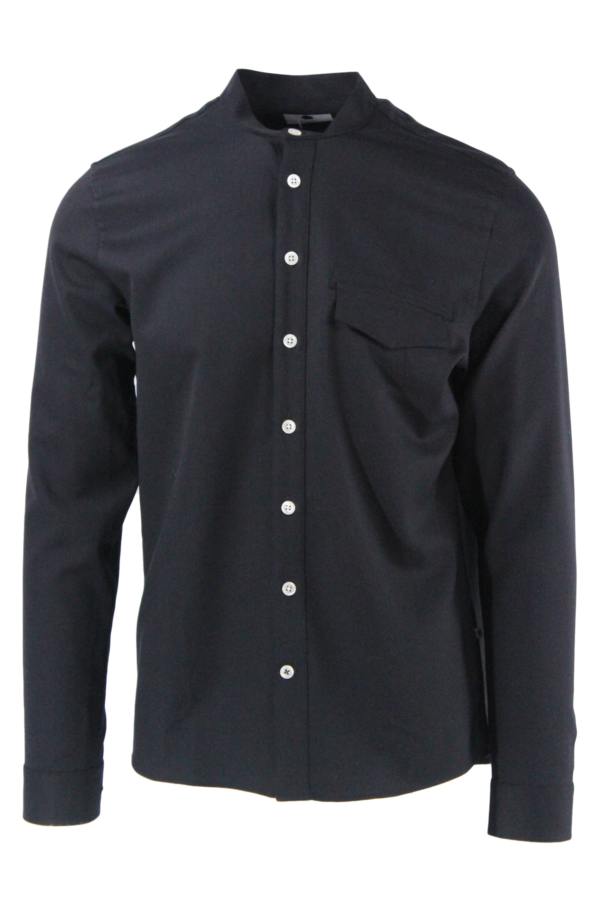 nn07 black long sleeve button up wool/poly shirt. features flap pockets at left breast, mandarin style collar with contrast white buttons.