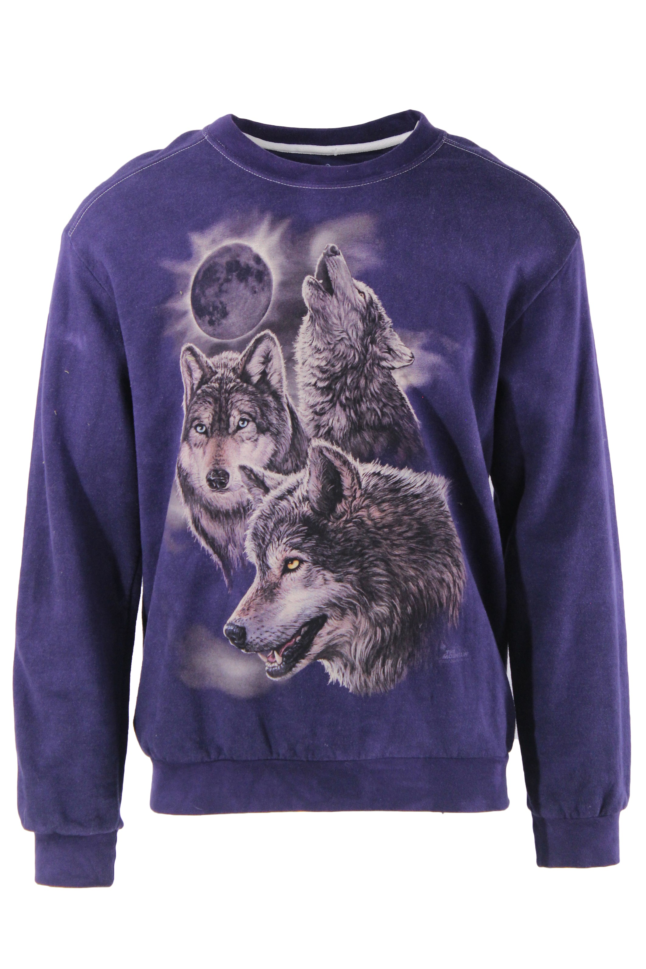 the mountain purple graphic long sleeve sweatshirt. features a round neckline, ribbed sleeve cuffs, & wolf graphic on front.