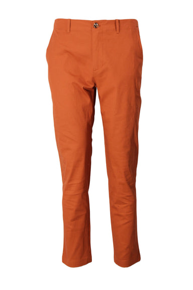 totokaelo burnt orange cotton chinos. features built-in adjustable buckled back and tortoiseshell buttons. cropped in a relaxed cut. unlined.