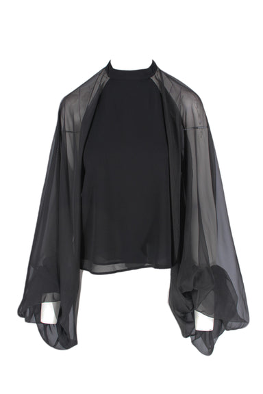 asilio black long-sleeve top. features sheer fabric at the back and sleeves. sleeves are big and voluminous.