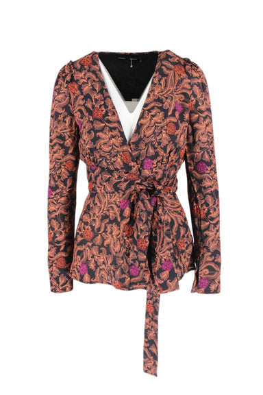 proenza schouler black and coral floral paisley wrap top. features ruffled long sleeve and belted waist wrap
