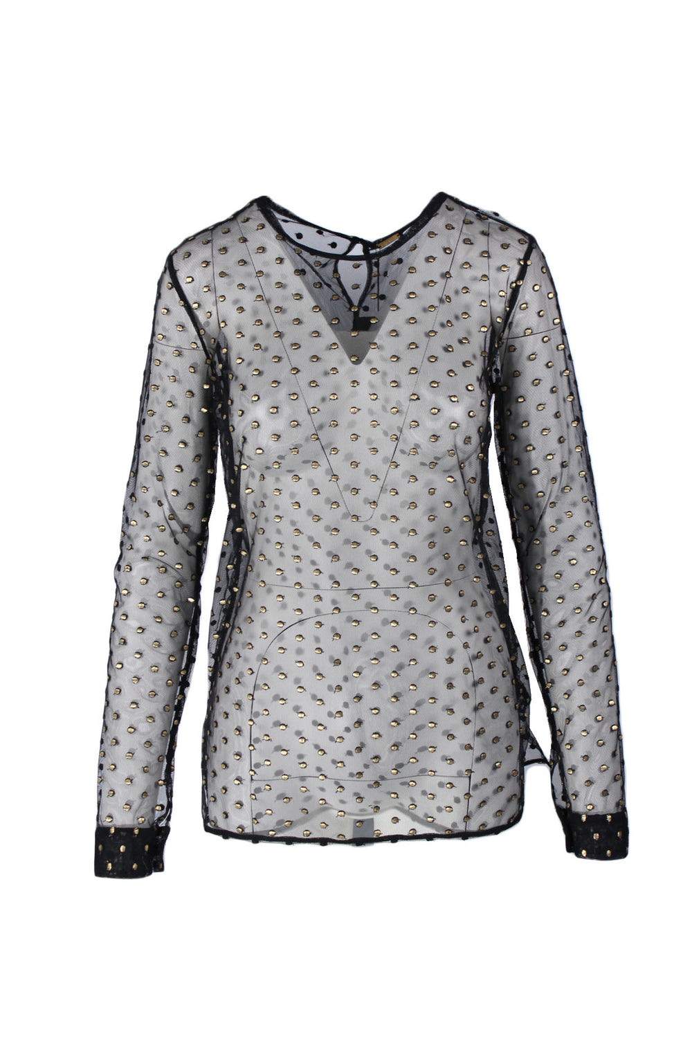 dodo bar or black long sleeve embellished sheer net top. features all-over gold dot embroidery and keyhole back detail. straight cut, buttoned cuffs, side slits. unlined.