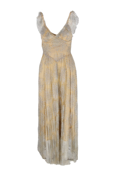 fleur du mal beige and silver sleeveless long dress. features a pleated lace body and collar, with silver metallic details.