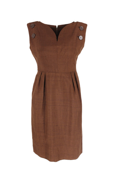 vintage brown sleeveless dress. features buttons on shoulders, a back zipper closure, & a pointy curved v neckline.