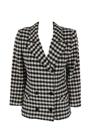vintage ungaro black & white plaid blazer jacket. features button-down closure, shoulder pads, & two pockets. also features rose print inner lining.