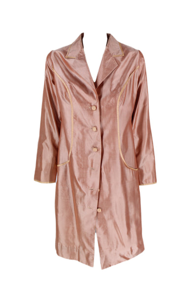 description: vintage rose gold jacket. featuring peach lining and accents.