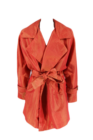 ann tjian for kenar hot pink iridescent trench coat. features belt, belt loop & two pockets.