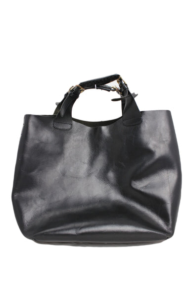 black leather large handbag. features two straps with leather stitching details and gold tone metal hardware.
