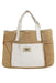 ugg australia sand & white handbag. features inner white zipper pouch, faux fur lining, & care bag.