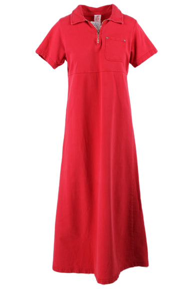 hot cotton red maxi collared tee dress. features a zipper closure at neckline & a chest pocket.
