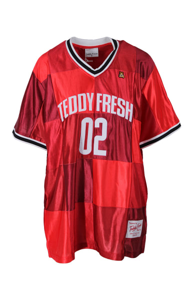 teddy fresh red varsity jersey. features brand tag.