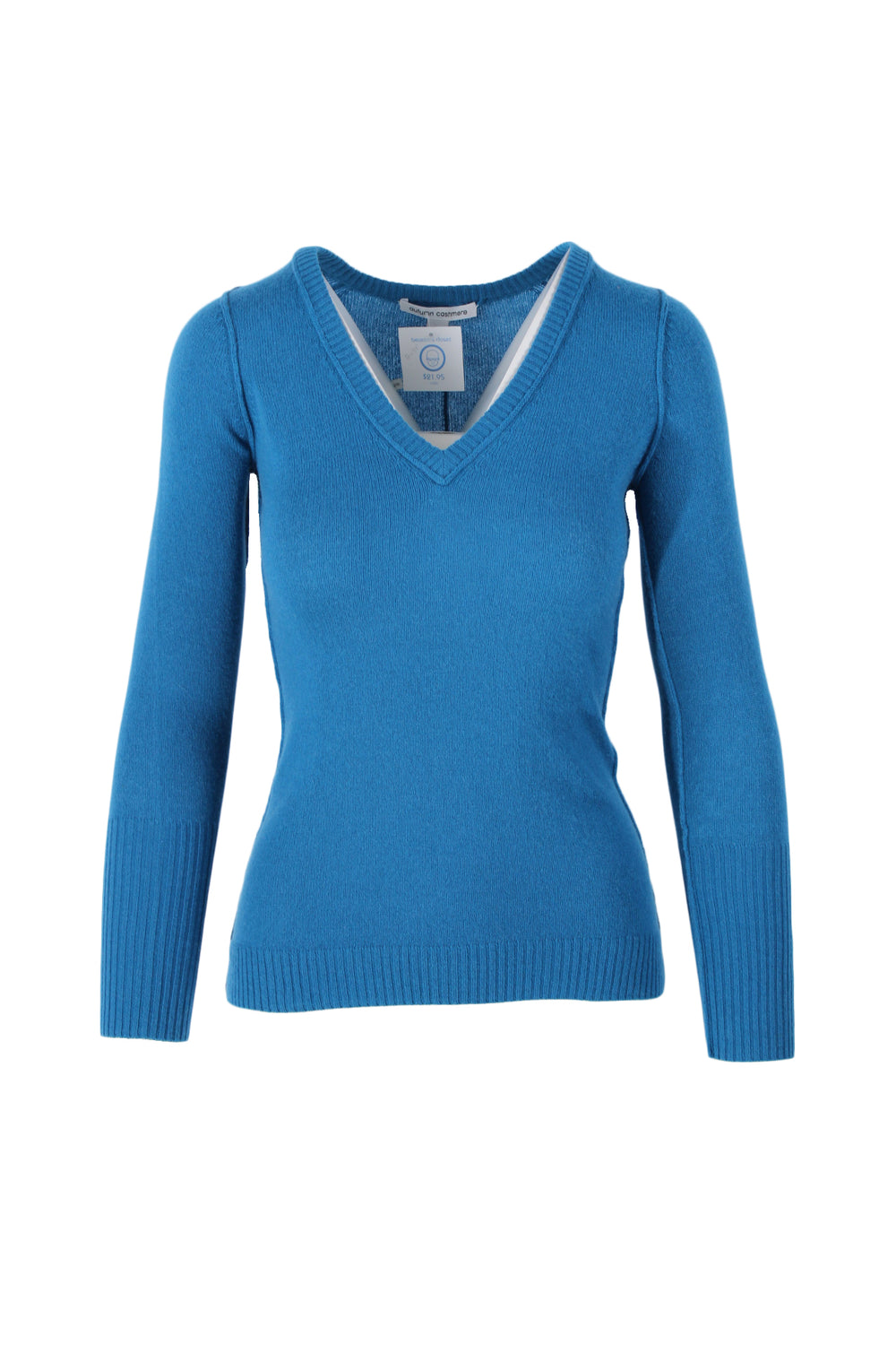 autumn cashmere aqua v-neck sweater. featuring exposed seam details and rib-knit hems.