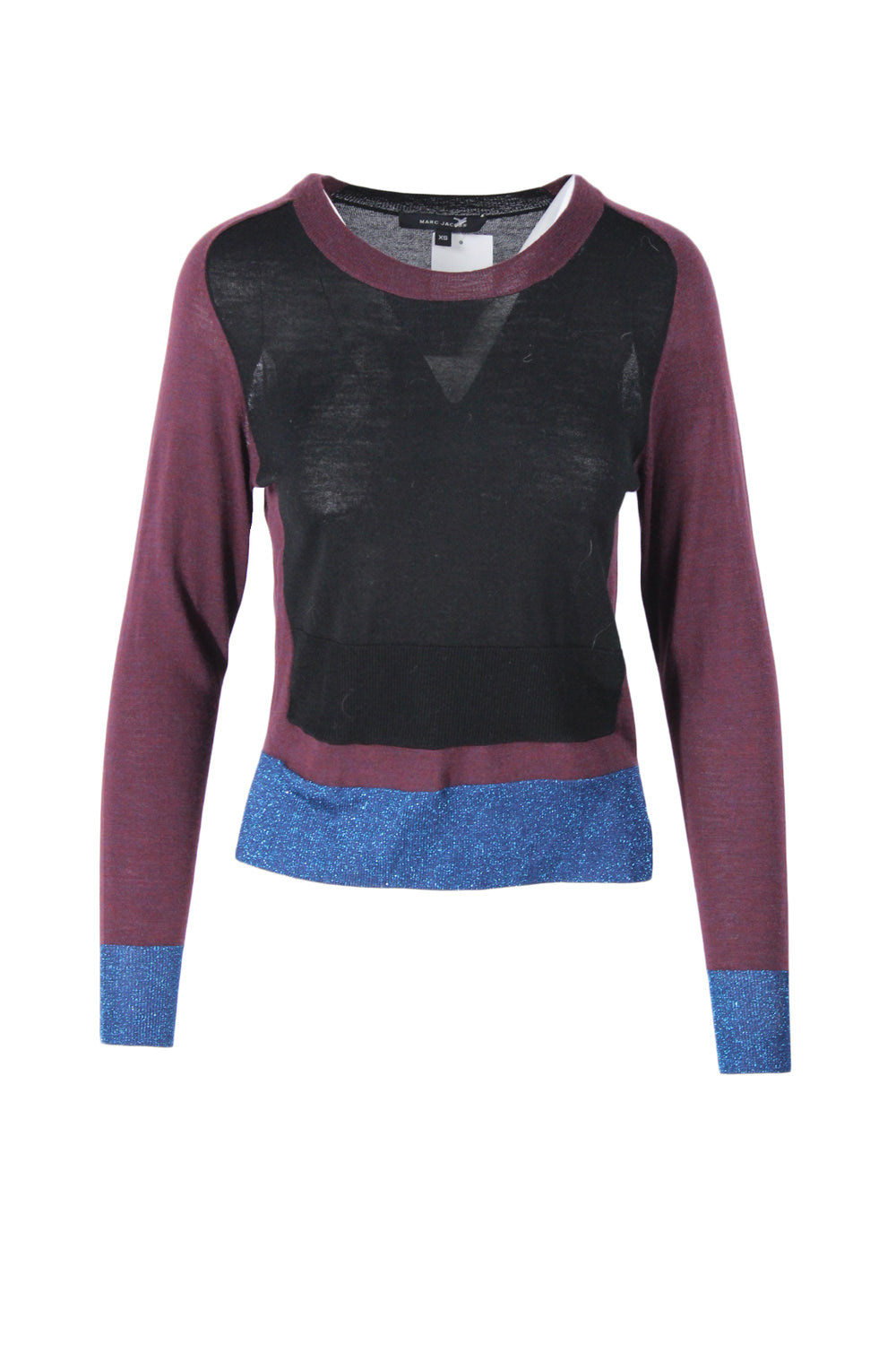 marc jacobs color blocked light weight sweater. featuring metallic rib knit hem; and cutouts at the back of shoulder.