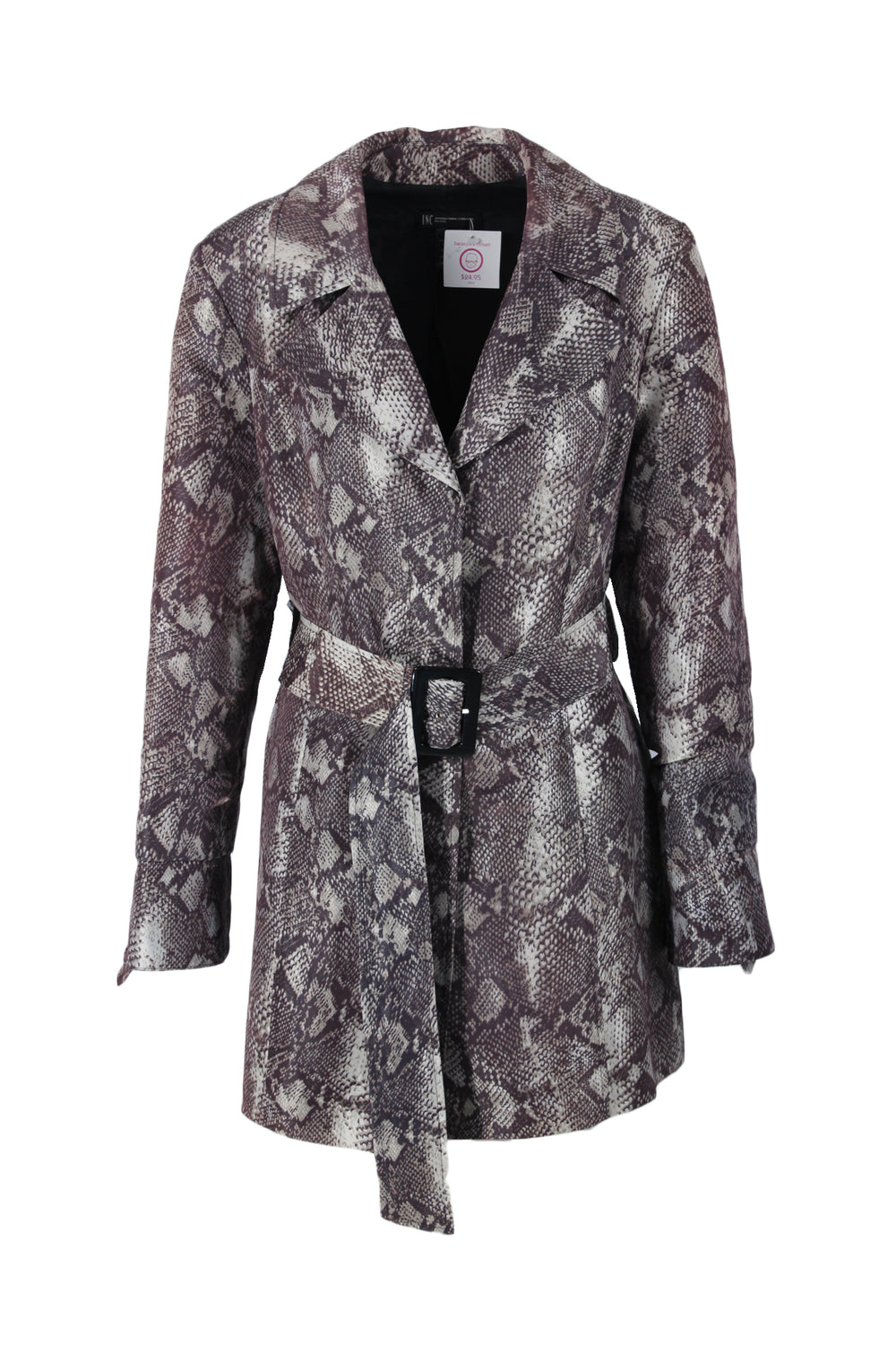 i.n.c grey trench jacket. features snake print pattern & button down closure.
