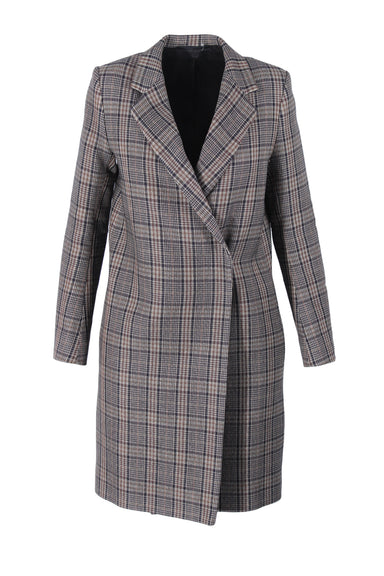 cos grey plaid single-breasted, mid-length coat. featuring visible single button closure and slit in back.