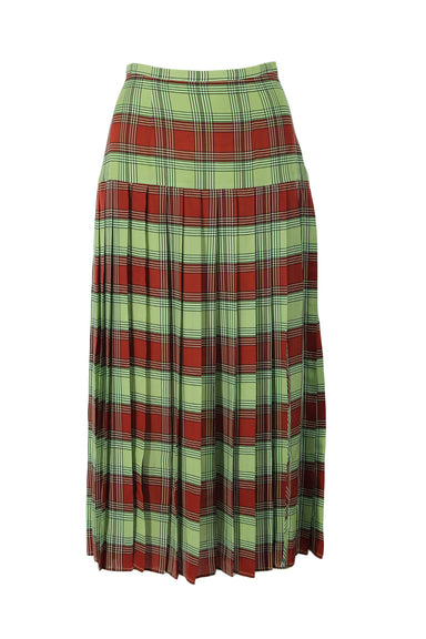 rixo green & red lightweight pleated plaid midi skirt. featuring side zip and hook & eye closure.