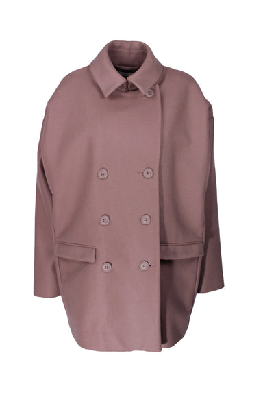 & other stories mauve trench jacket. features button down closure.