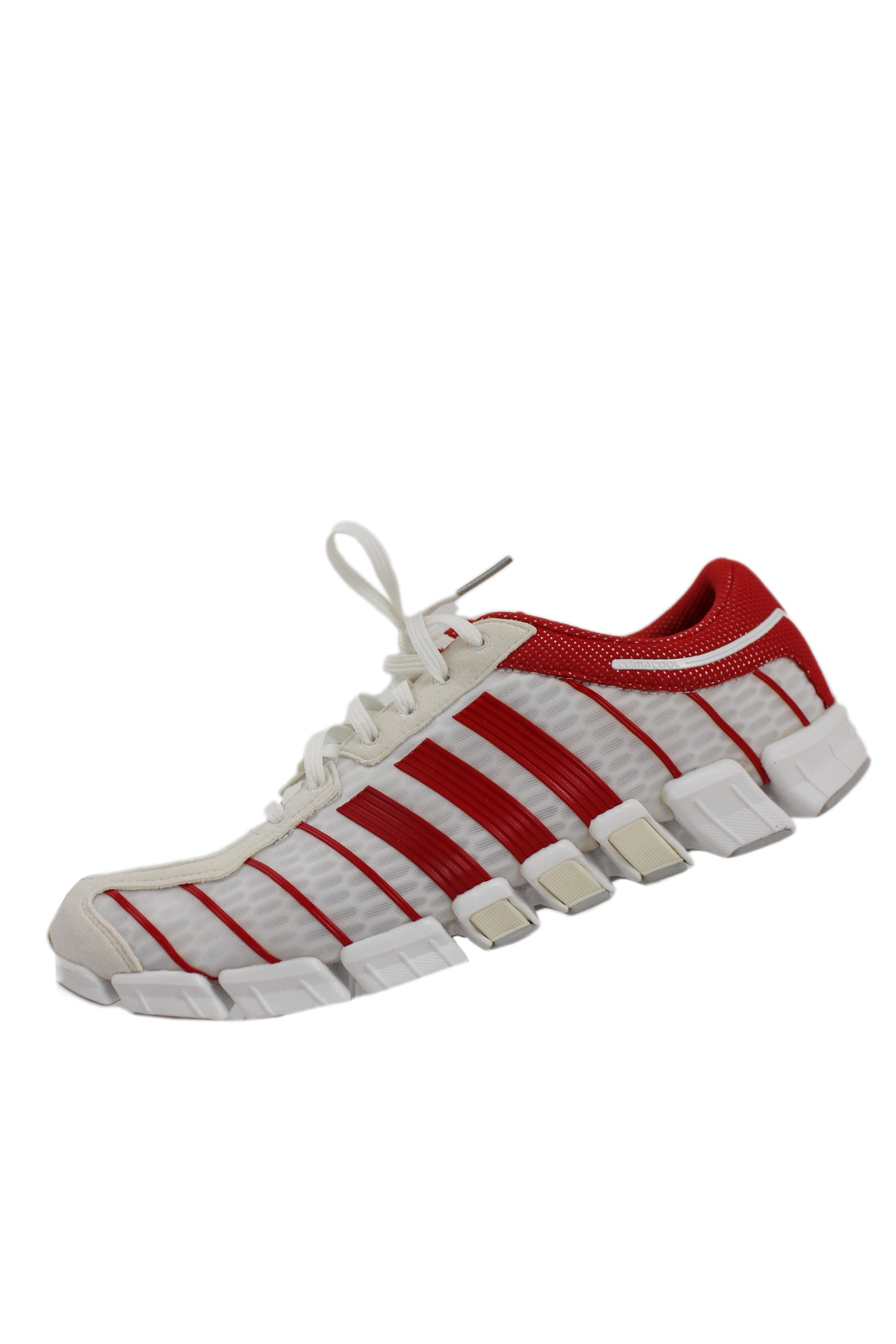 mi adidas climacool red and white sneakers. features upper with white overlay on white perforated mesh, red perforated mesh and red stripes along sides. has white rubber soles and shoe laces with japanese flag shoe charm.