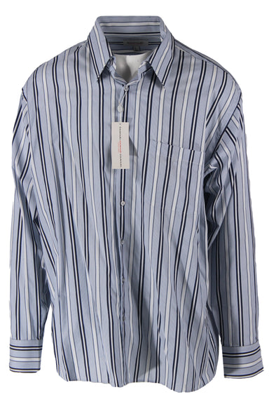 emanuel ungaro blue pinstripe long sleeve collar top. features a button down closure, chest pocket, & buttoned sleeve cuffs.