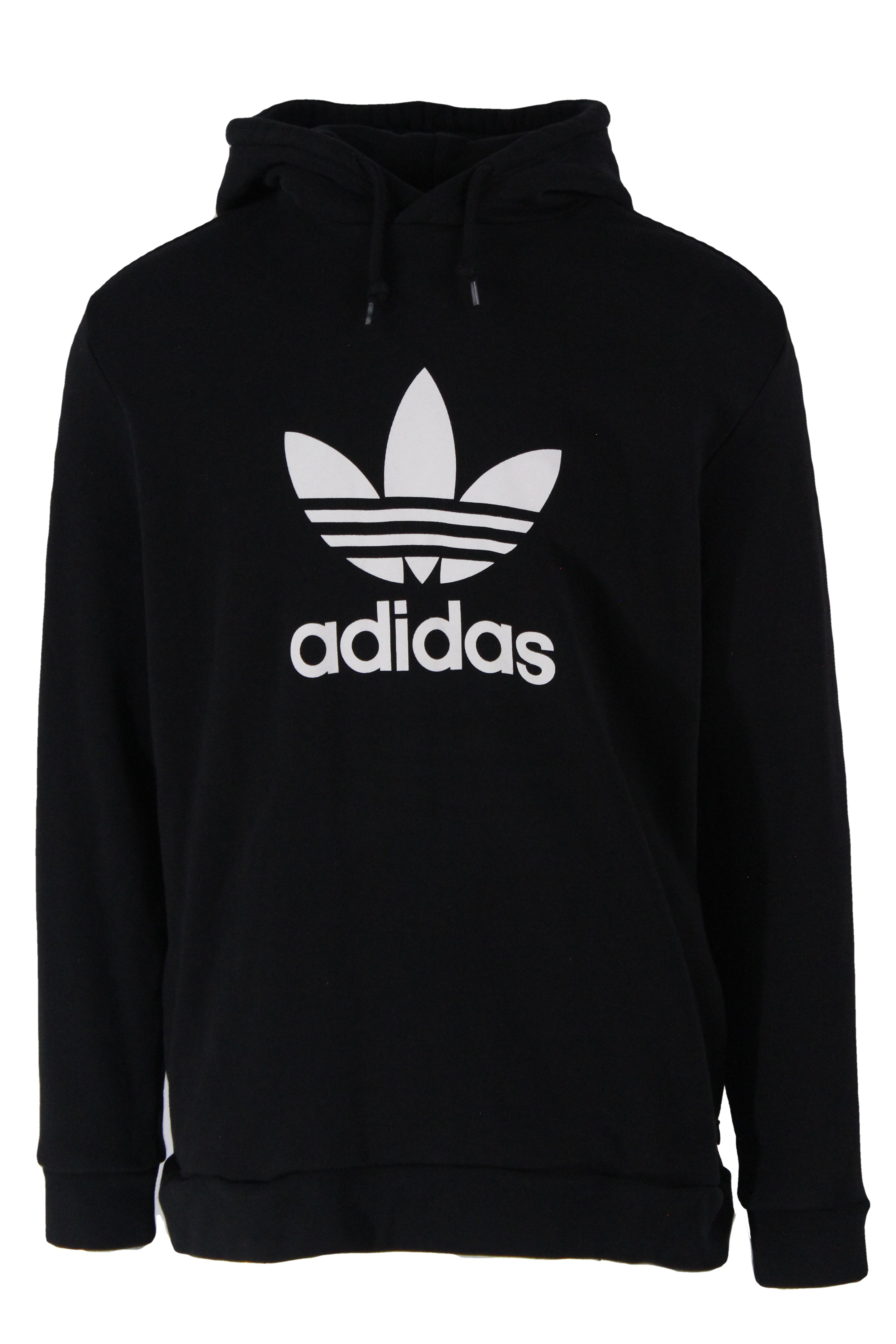 adidas black pullover cotton hoodie. features logo printed at chest, zip hand pockets at sides, drawstrings at hood with ribbed hem and cuffs.