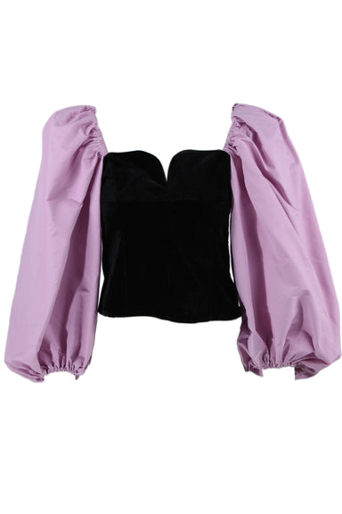 shein black and purple corset top. features sweetheart neckline, black velvet exterior with side zip closure and off the shoulder purple puffy balloon sleeves.
