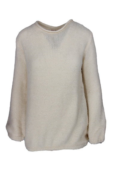 demylee new york cream knit sweater top. features soft fuzzy texture.