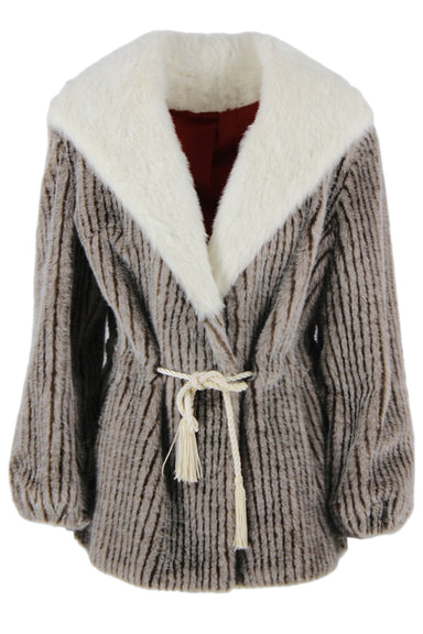 description: vintage taupe faux fur coat. featuring a cream faux fur collar and built-in cord belt.