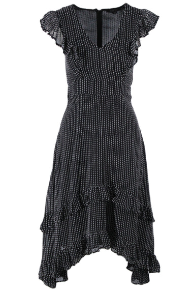 allsaints black short sleeve midi dress. features ruffled shoulder cap sleeves and bottom. textured gray contrast stitching.