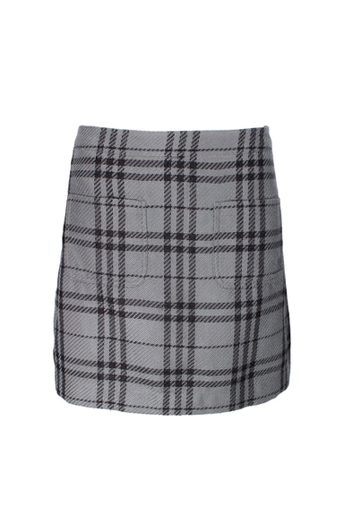 j crew grey plaid skirt. features two front pockets.
