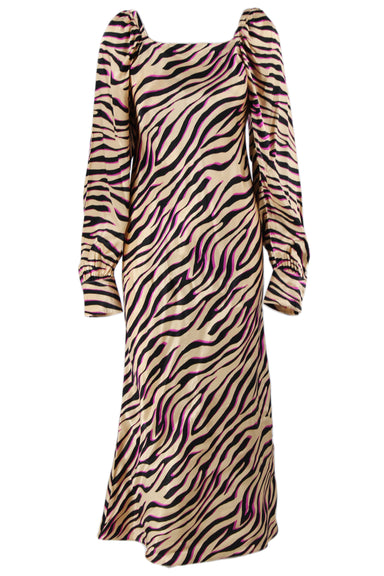 asos multicolored tiger print maxi dress. feature black and purple stripes throughout, square neck, long sleeves with cuffs and a concealed zipper closure at back.