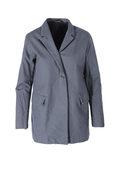 p.r.patterson slate blue/gray short coat. features a button closure and front pockets.