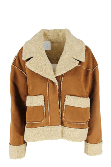marine layer brown faux-shearling jacket. features brown exterior with ivory faux shearling collar, hem, and cuffs. has concealed snap button closures and contrasting ivory trim and interior.