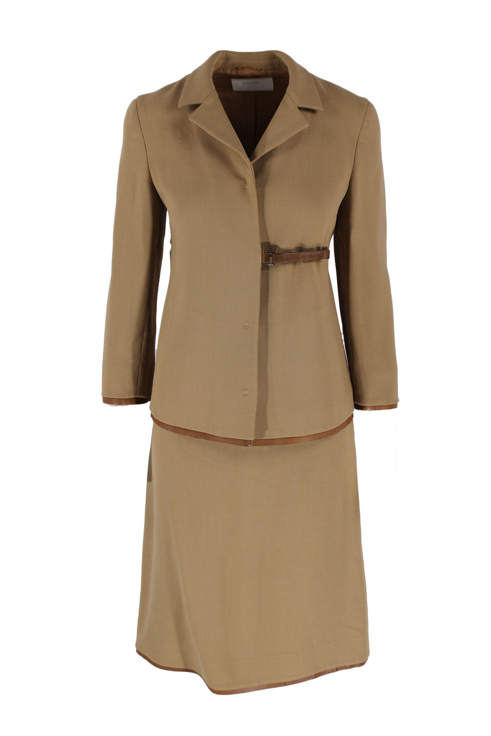 vintage prada beige two-piece suit.