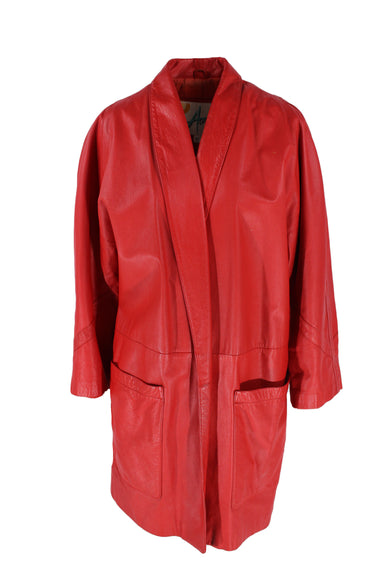 a wear red collarless leather jacket. features two pockets & mimics a kimono silhouette.
