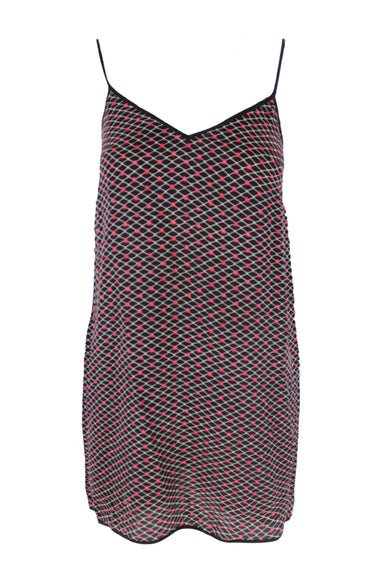 adam selman black sleeve-less dress. features a zipper at each seam, and an upside down red heart design throughout.