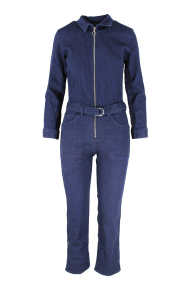 3x1 nyc dark wash collared denim jumpsuit. features 5 pockets, zipper closure, & button sleeve cuffs. also features a belt.