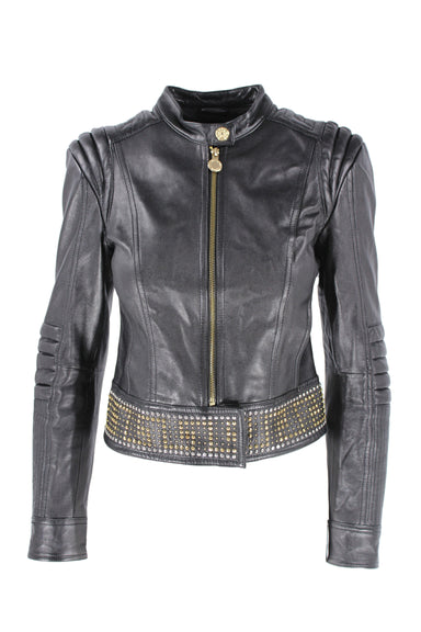 description: versace for h&m black leather jacket. featuring gold hardware and a studded hem.