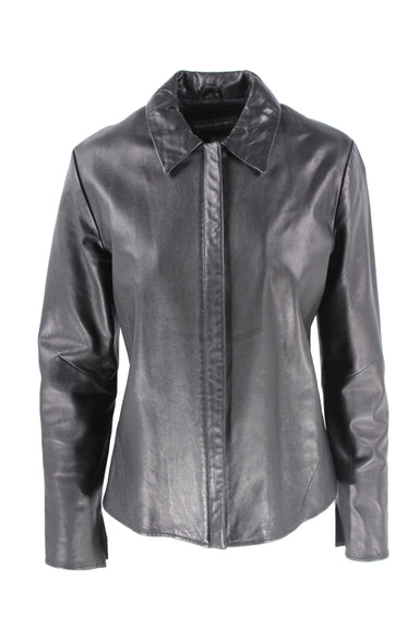 banana republic black collared leather jacket. features a front zipper closure.