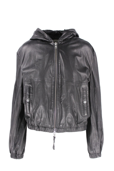 public school black hooded leather jacket. features two pockets, zipper closure, & cuffed hemline. also featured cuffed sleeve cuffs.
