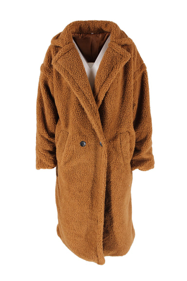 the urban gap brown longline collared teddy coat. features single button closure & two pockets.